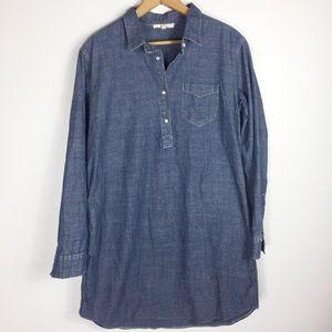 Easel Blue S Pearl Snap Sheath Shirt Chic Dress